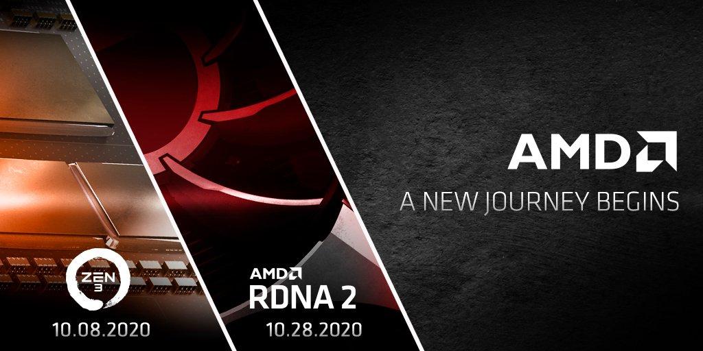 Официальный показ AMD Zen3 состоится 8 октября,а AMD RDNA2 – 28 октября